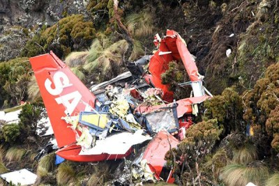 The wreckage of the FlySax plane that crashed in Kinangop, Aberdares.