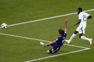 Moussa Wague of Senegal scores his side's second goal to bring the score against Japan to 2-1 in their World Cup clash n Ekaterinburg on Sunday.