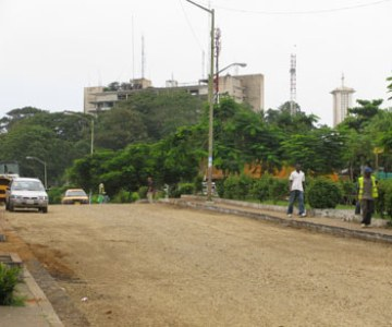 road construction work taking place in Monrovia