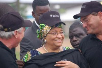 President Sirleaf at an event marking investment by Buchanan Renewable.