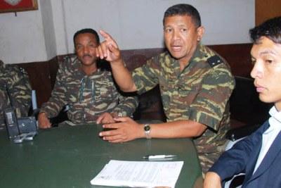 Madagascar's interim leader Andry Rajoelina and members of the military.