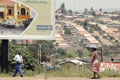 Une route à Dobonville, Soweto, Johannesburg.