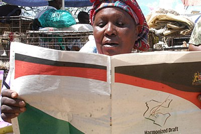 A trader at the Nakuru wholesale market in Kenya goes through a copy of the harmonised draft Constitution at her kiosk.