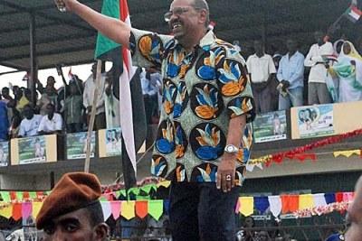 President Omar El Bashir à Juba durant la campagne éléctorale