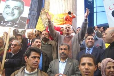 Des manifestants de l'opposition égyptiennes.