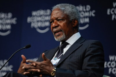 Kofi Annan, Secretary-General, United Nations (1997 - 2006); Member of the Foundation Board of the World Economic Forum, during the Development Partnerships Plenary at the World Economic Forum on Africa 2011 held in Cape Town, South Africa, 4-6 May 2011.