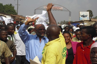 Liberian politician Charles Brumskine on the campaign trail (file photo).