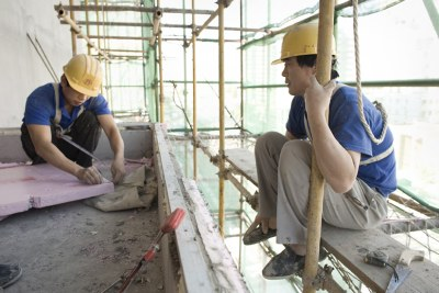 Chinese construction workers in Africa.