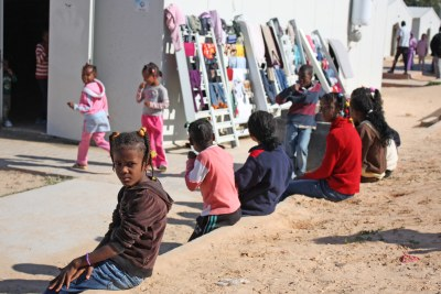 Children at the site for people displaced from the town of Tawergha during the 2011 Libyan civil war.