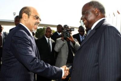 President Meles Zenawi of Ethiopia and President Mwai Kibaki of Kenya.