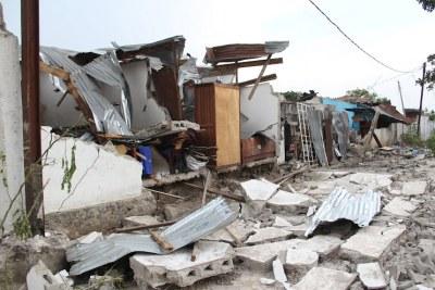 Dégâts causés par l'incendie du camp militaire le 5/3/2012 à Brazzaville.