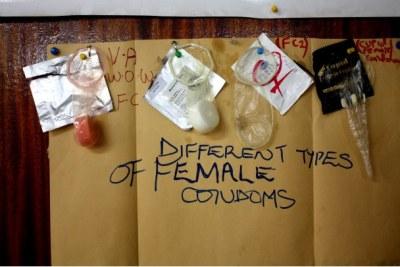 Different types of female condoms.