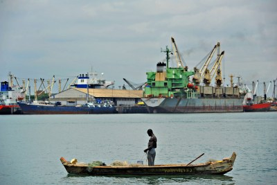 A fisherman in the Lomé harbour, Togo.