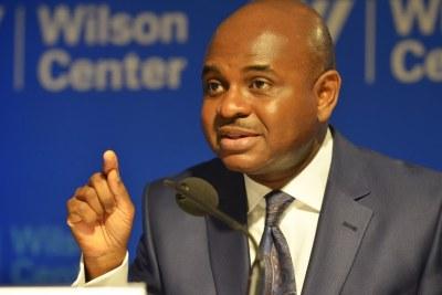 Dr. Kingsley Moghalu speaking at the Woodrow Wilson Center in Washington, D.C.