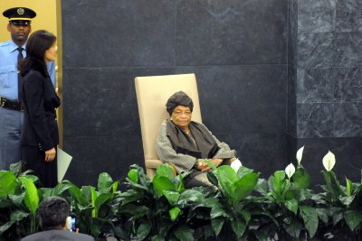 President Ellen Johnson Sirleaf waits to address the UN General Assembly (file photo).