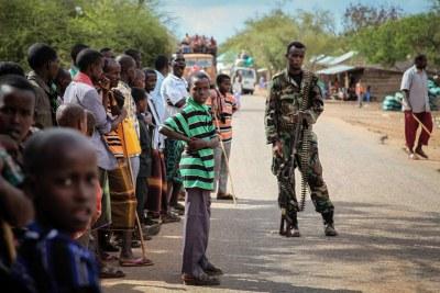 Des habitants du village de Modmoday à 40 kms à l'est de Baidoa en Somalie.