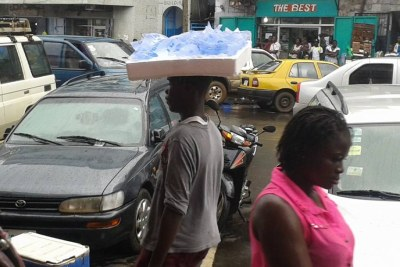 A major thoroughfare in Monrovia is busy despite the Ebola scare.