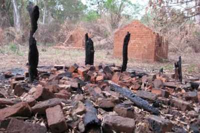 The ruins of a house burn down by the LRA in the Central African Republic (file photo).