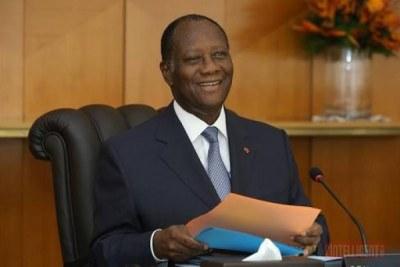 Le Président de la République de Côte d'Ivoire, Alassane Ouattara