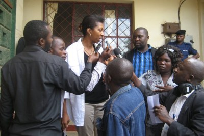 Madam Jeanine Mabunda,Advisor on Sexual Violence and Child Recruitment to DRC President Joseph Kabila, addressing reporters outside of Bunia City Hall