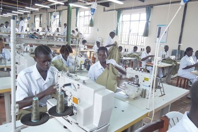 Staff at work at the police garments factory. They could make use of the Agoa to export their textiles to the USA market.