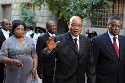 Former president Jacob Zuma, his wife Sizakele Khumalo and former speaker Mr Max Sisulu at Parliament (file photo).