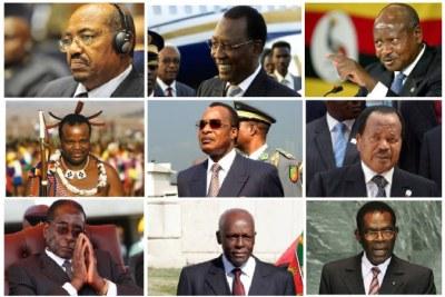 Some African leaders with 20 years in power, from top left to bottom right:  Omar al-Bashir, Sudan; Idress Deby Itno, Chad; Yoweri Museveni, Uganda; King Mswati III, Swaziland; Denis Sassou Nguesso, Republic of the Congo; Paul Biya, Cameroon; Robert Mugabe, Zimbabwe; Jose Eduardo Dos Santos, Angola; Teodoro Obiang Nguema Mbasongo, Equatorial Guinea.