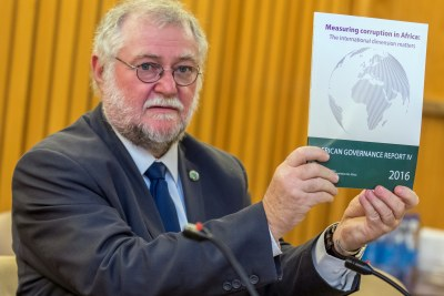 Namibian Minister of Finance Calle Schlettwein,  launching the Africa Governance Report IV, during the African Development Week in Addis.
