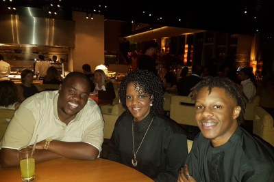 From left, Wicknell Chivayo, Grace Mugabe and Robert Jnr Mugabe in Dubai (file photo).
