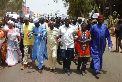 Opposition activists protesting against the regime of former president Yahya Jammeh (File Photo).
