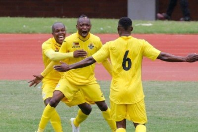 Zimbabwe Warriors striker Khama Billiat celebrates with team mates after scoring (file photo).