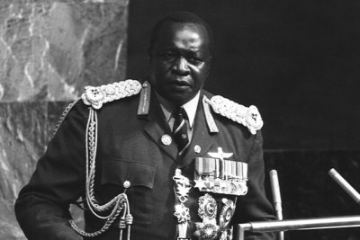 Photo of Idi Amin taken as he addressed the United Nations General Assembly in New York.