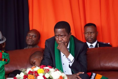 Edgar Lungu à Lusaka, le 18 octobre 2015. Pour le parti du président, les opposants sont «des pleurnichards qui se plaignent à chaque fois qu'il y a une élection».