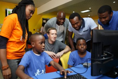 Facebook founder Mark Zuckerberg's first stop in Nigeria was the Co-creation Hub Nigeria (CcHUB) in Yaba. He spoke with children at a summer coding camp and entrepreneurs who come to CcHub to build and launch their apps.