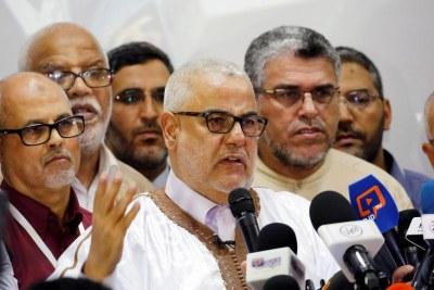 Abdelilah Benkirane, secrétaire général du PJD marocain, lors d'une conférence de presse à Rabat ce samedi 8 octobre 2016 après l'arrivée des premiers résultats des législatives.