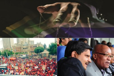 Top: Title image of the 'State of Capture' report. Bottom-left: EFF supporters protest in Church Square, Pretoria. Bottom-right: File photo of Atul Gupta and President Jacob Zuma.