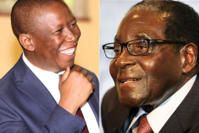 Left: South African opposition leader Julius Malema. Right: Zimbabwean President Robert Mugabe.