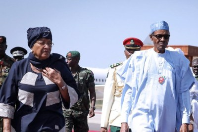 Presidents Ellen Johnson Sirleaf of Liberia and Nigeria's Muhammadu Buhari.