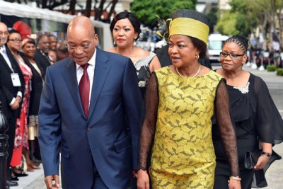 President Zuma with Speaker of Parliament Baleka Mbete on arrival for State of the Nation Address by President Jacob Zuma.