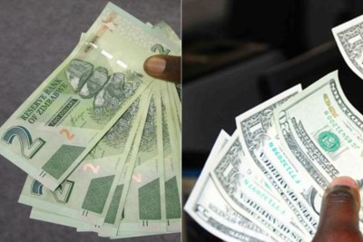 Zimbabwe's bond notes and U.S. dollar notes (file photo).