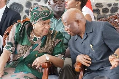 President Ellen Johnson Sirleaf and Vice President Joseph Boakai at the dedicatory ceremony (file photo).