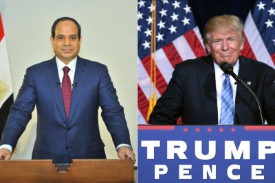 Left: Egyptian President Abdel Fattah al-Sisi. Right: U.S. President Donald Trump.