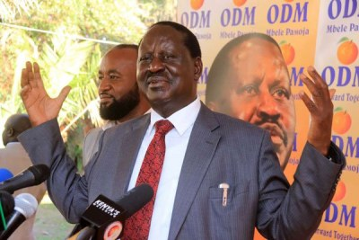 ODM leader Raila Odinga and his deputy Ali Hassan Joho speak to journalists at Orange House, Nairobi, on April 11, 2017. Mr Odinga accused the government of using the National Intelligence Service to create tension within Nasa.