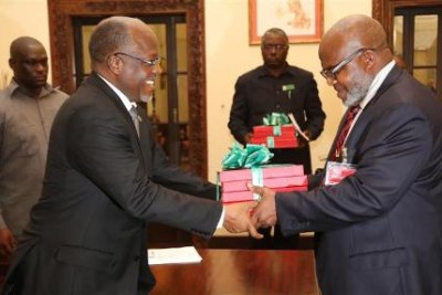 The Controller and Auditor General (CAG)  Prof Mussa Assad and President John Magufuli.