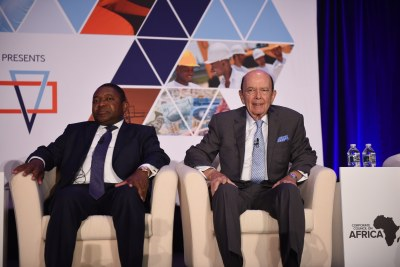 Mozambican President Filipe Nyusi and U.S. Commerce Secretary Wilbur Ross at the welcome and opening plenary for the 2017 U.S.-Africa Business Summit held in Washington, DC.