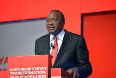 President Uhuru Kenyatta speaks during the launch of Jubilee manifesto at Kasarani Sports Centre in Nairobi.