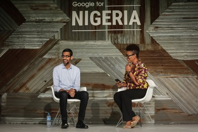 Sundar Pichai, Google CEO, is interviewed by Nigerian journalist Adesuwa Onyenokwe at the Google for Nigeria event in Lagos.