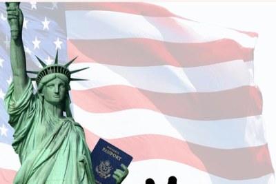 Drapeau américain et la Statue de la liberté