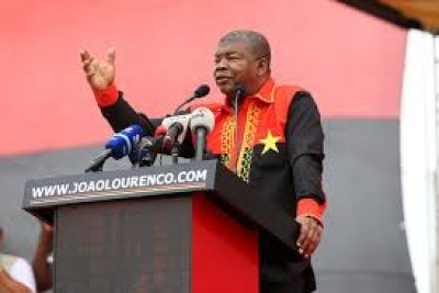 Ruling MPLA party presidential candidate, João Lourenço, during the Lobito public rally.