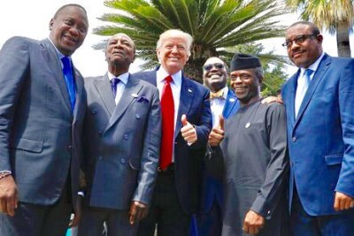 President Trump with Africa leaders invited to the G20 summit in 2017 -  (from left) Presidents Uhuru Kenyatta of Kenya and Mahamadou Issoufou of Niger, African Development Bank President Akinwumi Adesina. Nigeria's then-acting President Yemi Osinbajo, and then-Ethiopian Prime Minister Hailemariam Desalegn,